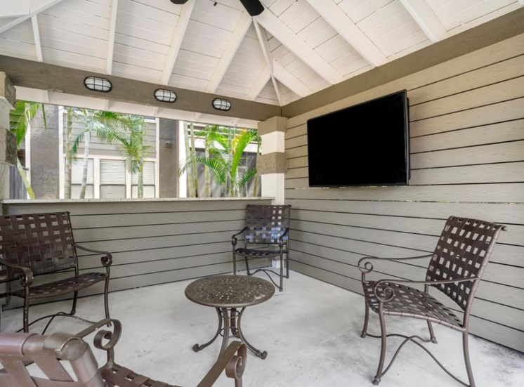 Covered Outdoor Lounge Area with Mounted TV and Patio Chairs