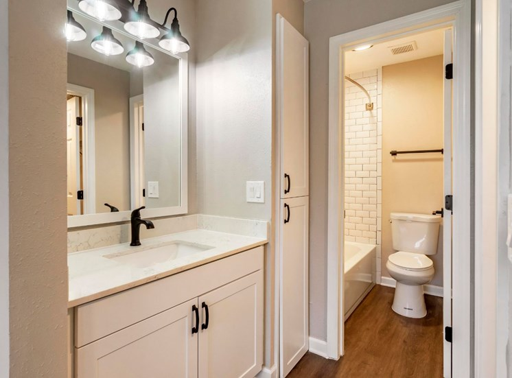 Bathroom with Separate Vanity White Cabinets and Counters  with Framed Mirror