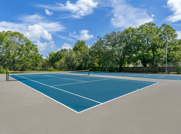 Fenced in Blue Tennis Court Surrounded by Trees