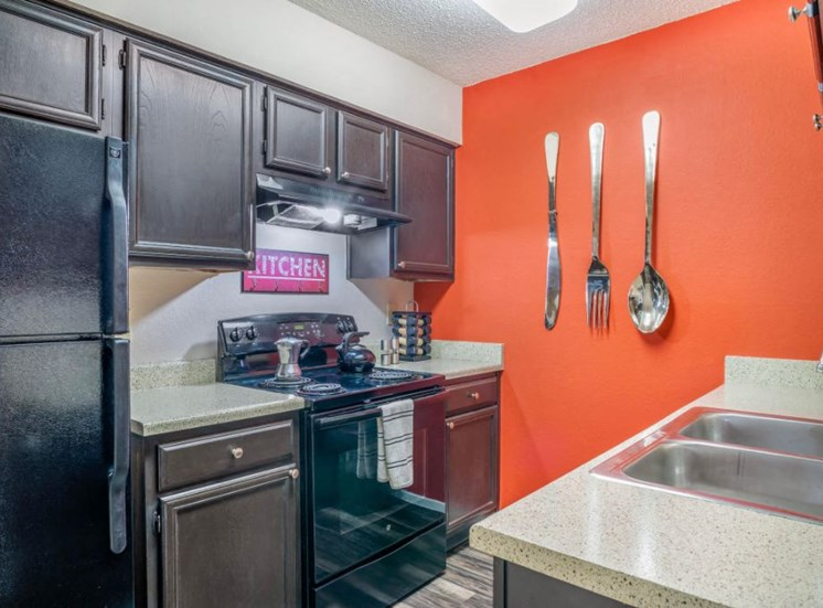 Kitchen with Black Appliances and Double Basin Sink Decorations and Orange Accent Wall