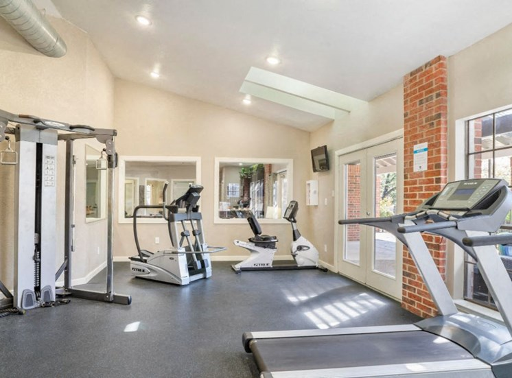 Bright Fitness Center Cardio Equipment in Front of Windows