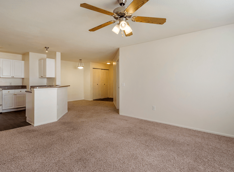 Living room with carpet flooring, multi speed ceiling fan, and kitchen with hardwood style flooring