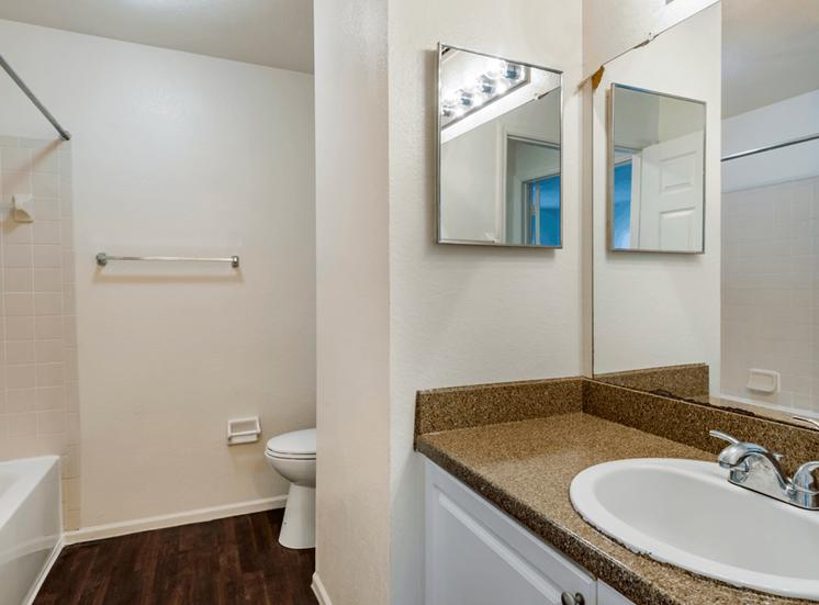 Bathroom with hardwood style flooring, large mirror, and vanity lighting