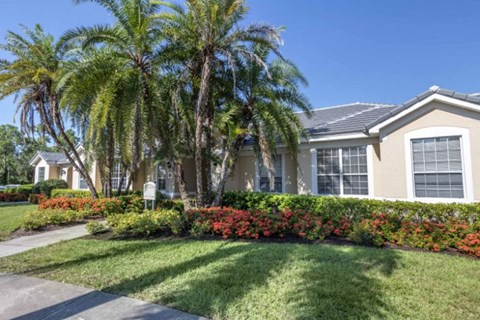 Leasing Office Exterior with Palm Trees and Shrubs