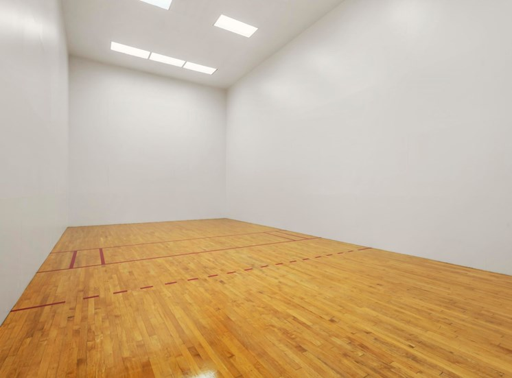 Racquetball Court with Wood Floor