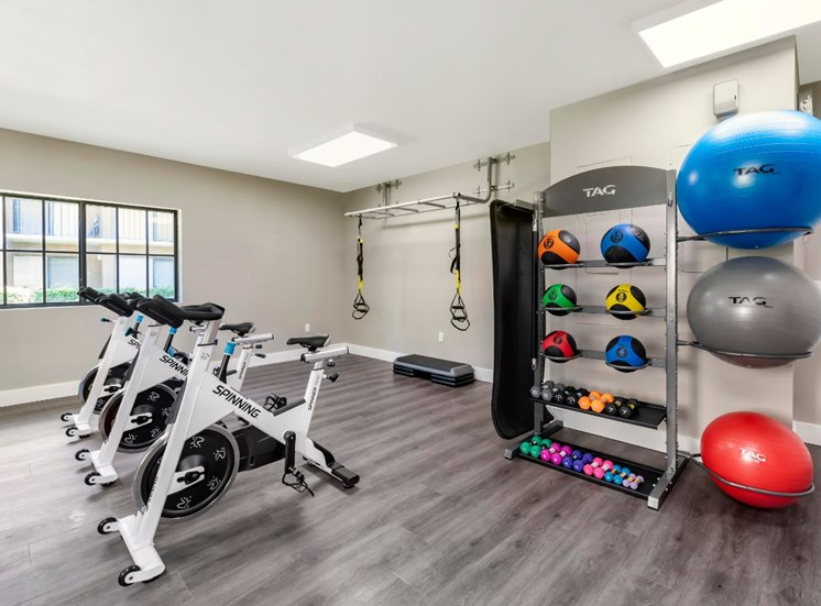 Fitness center with three stationary bikes, and weight balls