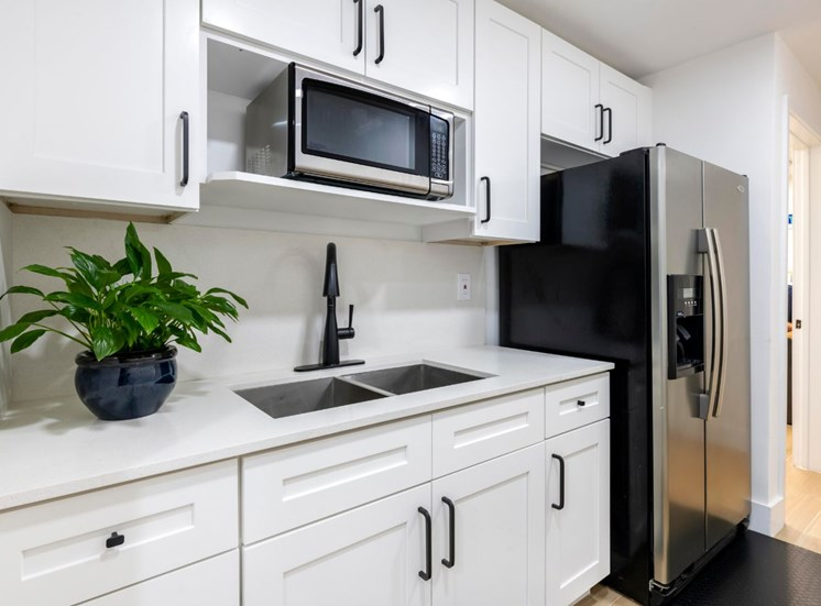 Kitchen with white countertops, white cabinets, stainless appliances, double basin sink and leafy counter plant