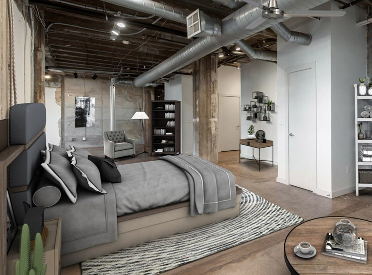 Large Bedroom with Exposed Ductwork and Polished Concrete Flooring with Virtually Placed Bed and Decorations