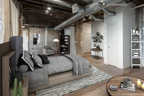 Large Bedroom with Exposed Ductwork and Polished Concrete Flooring