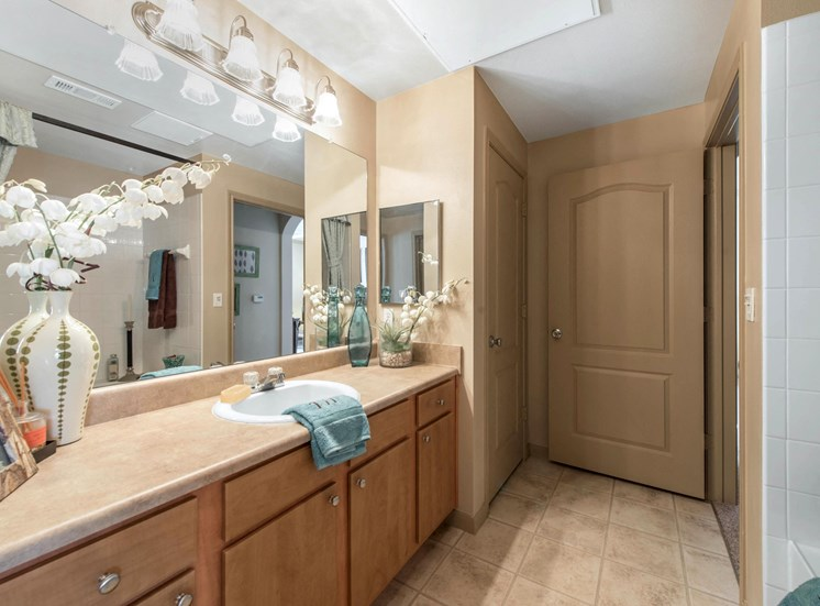 Model Bathroom with Wood Cabinets, Tan Counters and Decorations