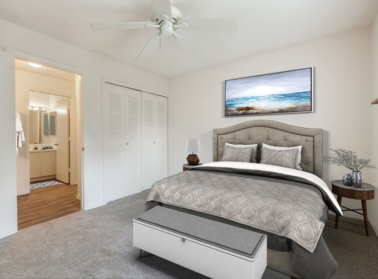 Carpeted Bedroom with Virtually Placed Bed and Decorations Next to En Suite Bathroom