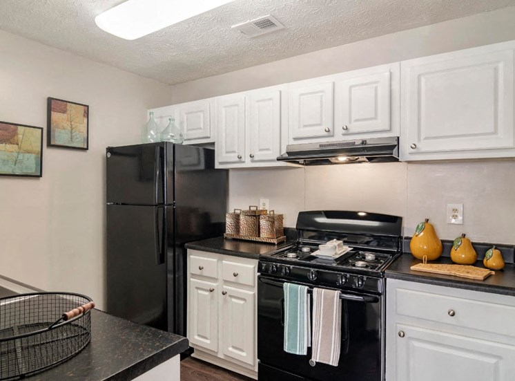 Model Kitchen with White Cabinets Black Counters and black Appliances