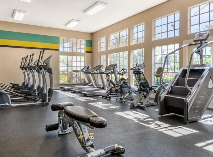 Bright Fitness Center with Bright Blue and Green Accent Stripes and Exercise Equipment