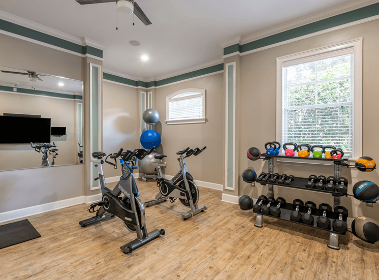 Fitness Center with free weights and stationary bike