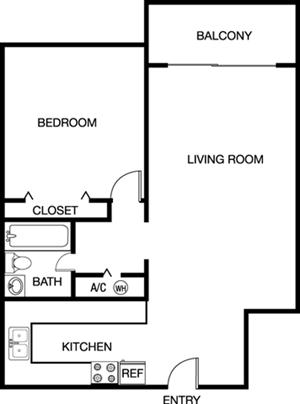 One Bedroom One Bathroom Floor Plan 766 Square Feet