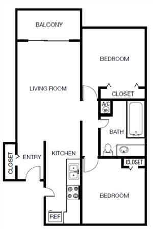 Two Bedroom One Bathroom Floor Plan 862 Square Feet