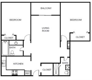 Two Bedroom Two Bathroom Floor Plan 932 Square Feet
