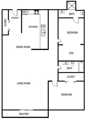 Two Bedroom Two Bathroom Floor Plan 1,075 Square F