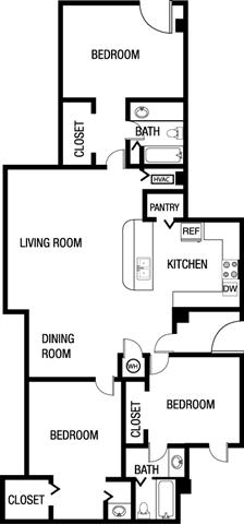 Three Bedroom Two Bathroom Floor Plan 1,595 Square Feet