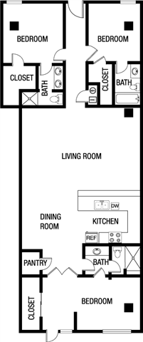 Three Bedroom Three Bathroom Floor Plan 1,779 Square Feet
