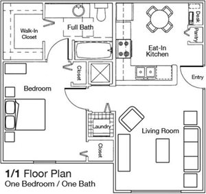 One Bedroom One Bathroom Floorplan