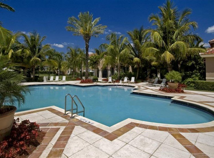Resort Style Swimming Pool with sundeck, palm trees and with buildings in the exterior