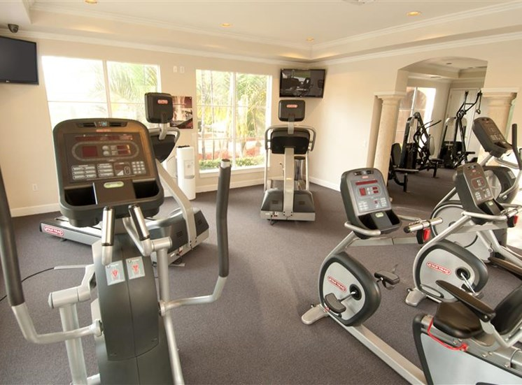 Fitness center with cardio equipment and weight system