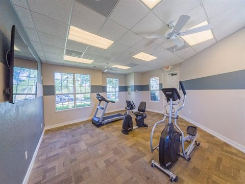 Fitness Center with Exercise Equipment and a Ceiling Fan