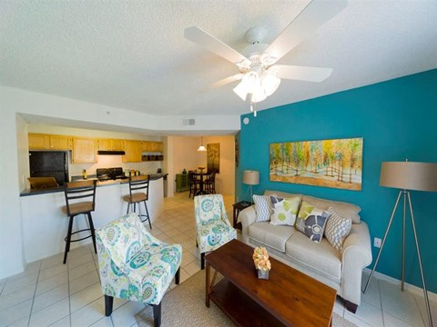 Decorated Open Concept Living Room with Accent Wall and Kitchen
