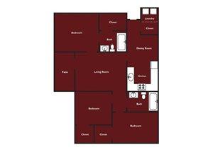 Three bedroom three bathroom floorplan