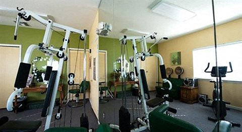 Bright Fitness Center with Exercise Equipment and Mirrored Wall and Large Window
