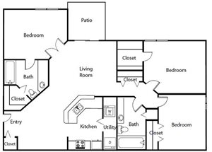Three Bedroom Two Bathroom Floor Plan  1,115 Square Feet
