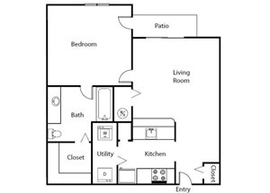One Bedroom One Bathroom Floor Plan 635 Square Feet