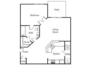 One Bedroom One Bathroom Floor Plan 678 Square Feet
