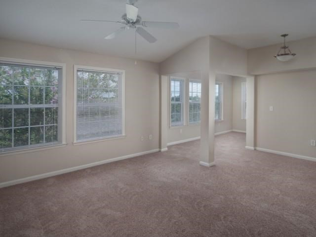 Carpeted Living Room with Ceiling Fan and  Large Windows