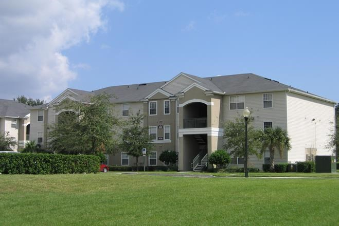 Apartment Building Exterior with Walkway