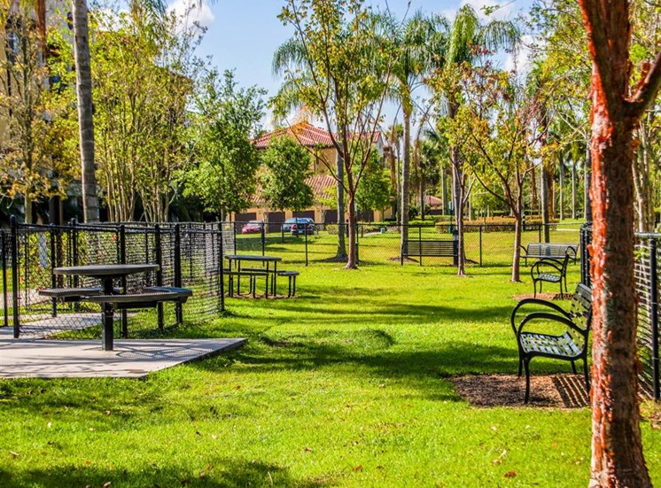 Fenced in Picnic Area with Picnic Tables and Benches