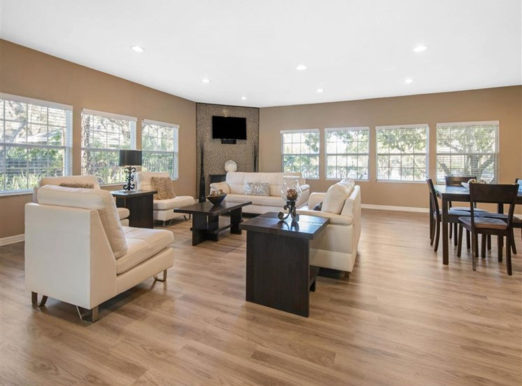 Clubhouse Seating Area with Chairs Around Coffee Table with Mounted TV
