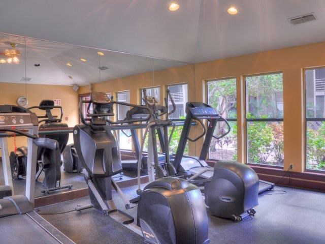 Bright Fitness Center with Exercise Equipment and Mirrored Wall