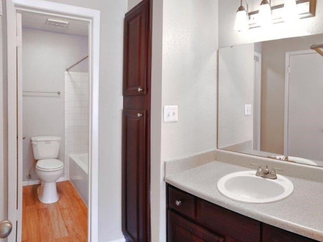 Bathroom with Separate Vanity with Grey Counters and Brown Cabinets