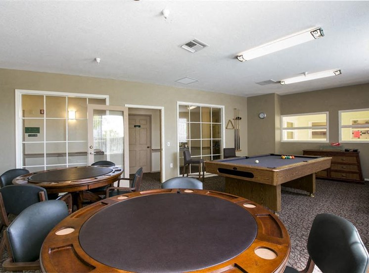 Entertainment clubroom with game and pool table