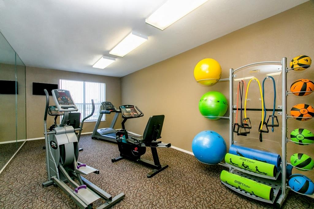 Fitness center with elliptical and exercise balls