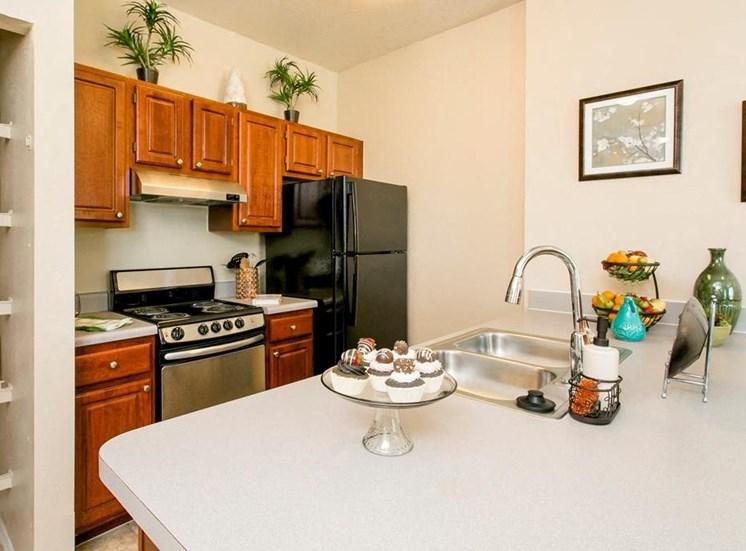 Model kitchen with pass through bar