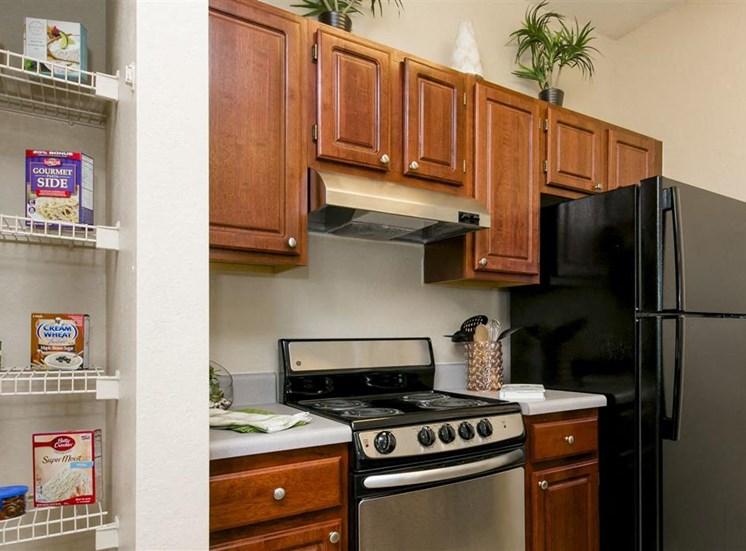 Model kitchen with stainless oven