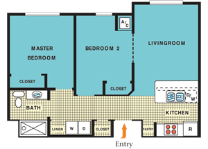 Two bedroom one bath floorplan