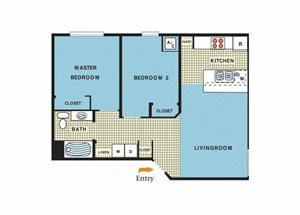 Two bedroom two bath large floor plan