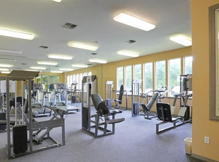 Bright Fitness Center with Exercise Equipment and Large Windows
