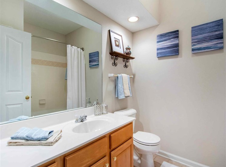 Model Bathroom with White Counters and Wood Cabinets with Decorations on the Wall