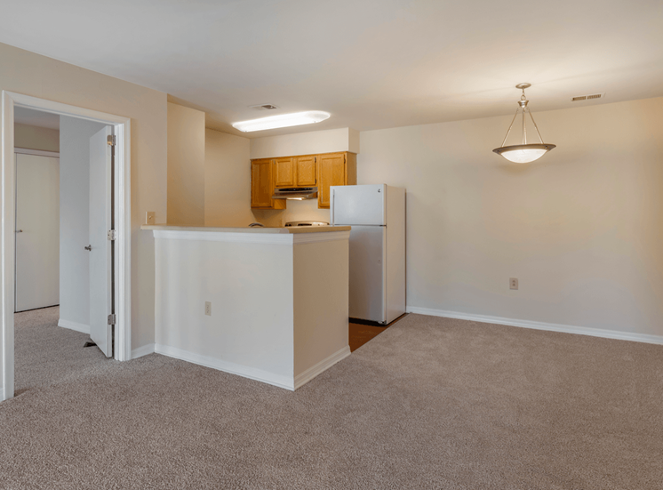 Carpeted Living Room Connected to Breakfast Bar off of Kitchen