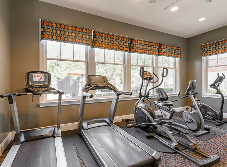Bright Fitness Center with WIndows and Exercise Equipment